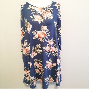 Honey & Lace Floral blue cotton Brea dress Small